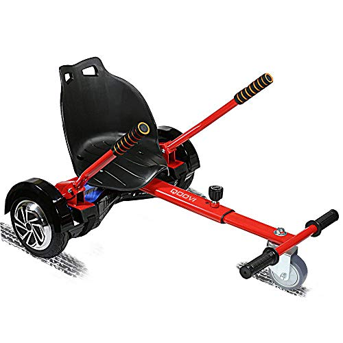 Qoovi Cool Mini Hoverboard Kart Accessories Adjustable for -All Heights- All Ages-Two Wheel Self Balancing Scooter -Compatible with All Hoverboards,Like A GO-Kart(Red)(Not Included Balance Board)
