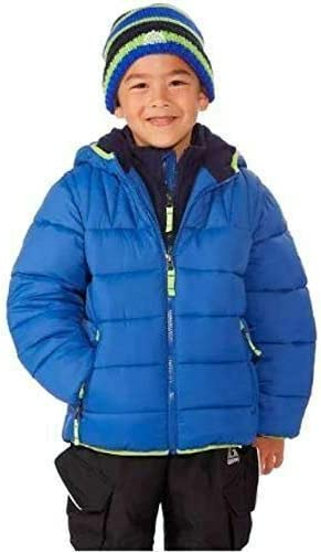 Snozu Boys' Hooded Puffer Jacket with Knit Hat in Royal, 2T