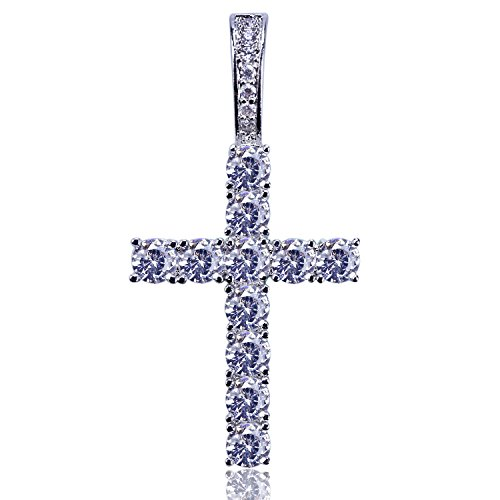 JINAO Iced Out Cubic Zirconia Round Cut Cross Pendant Necklace 18K Gold Plated Diamond Jewelry for Men Women with Stainless Rope Chain