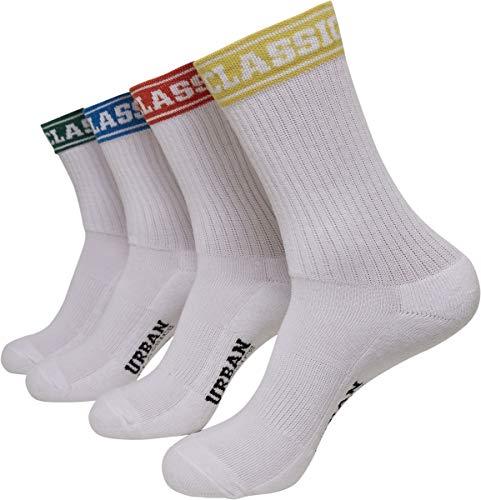 Urban Classics Unisex Short Sporty Logo Coloured Cuff 4-Pack Socken, Multicolor, 47-50