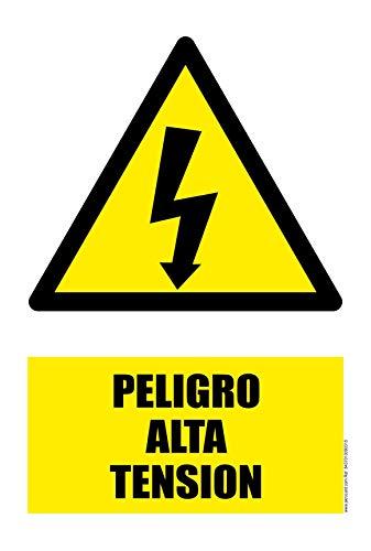 akrocard - Cartel Resistente PVC - PELIGRO ALTA TENSION - Señaletica de advertencia - señal disuasorio Ideal para Colgar y Advertir