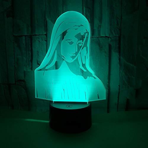 3D Veilleuse Enfant LED Lampe de Chevet Optiques Illusions Lampe de Nuit 7 Couleurs Ajustables Câble USB Cadeau Jouets (Vierge Marie),Interrupteur Tactile