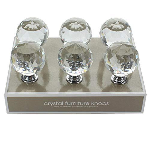G Decor Türknäufe, 40 mm, rund, transparent, qualitativ hochwertig, aus Kristallglas, für Küche, Vitrine, Schränke, Schubladen, 6 Stück