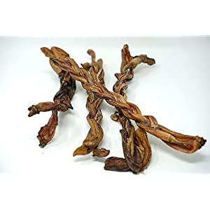 """Jack's Premium # 1 Texas Sized 12"""" Jumbo Braided Bully Sticks for Dogs, 100% All Natural Dog Treats sourced and Made in USA – Freshly Cooked from TX with Amazing Smoky Flavor from 4pk Avg. 1Lb."""