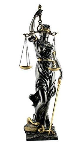 Romeinse Justitia 21 cm met weegschaal, wetboek en zwaard zilver-goud