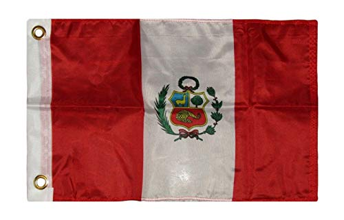 12'x18' Country of Peru Boat Motorcycle Flag Brass Grommets PREMIUM Vivid Color and UV Fade BEST Garden Outdor Resistant Canvas Header and polyester material FLAG