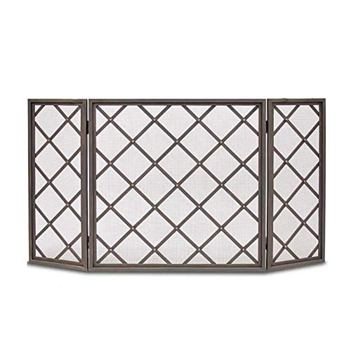 Review Of 3 Panel Wrought Iron Fireplace Screen, Free Standing Gate Screen Decor Mesh, Indoor Large ...