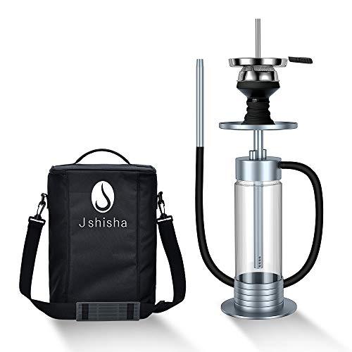 J Shi sha Shisha Edelstahl Silber V2A Hookah Big Size LED Licht mit Tragetasche | Wasserpfeife | Kaminkopf | Komplettset | Tauchrohr mit Diffusor | Silikonschlauch Alumundstück Tabakkopf