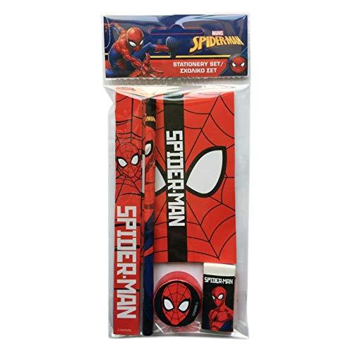 GUIZMAX Satz Schuljunge Spiderman Lineal Notizbuch Stift Radierer Größe Stift