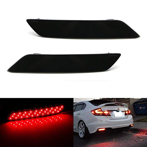 iJDMTOY Smoked Lens 60-SMD LED Bumper Reflector Lights Compatible With 2013-2015 Honda Civic Sedan, Function as Tail, Brake & Rear Fog Lamps