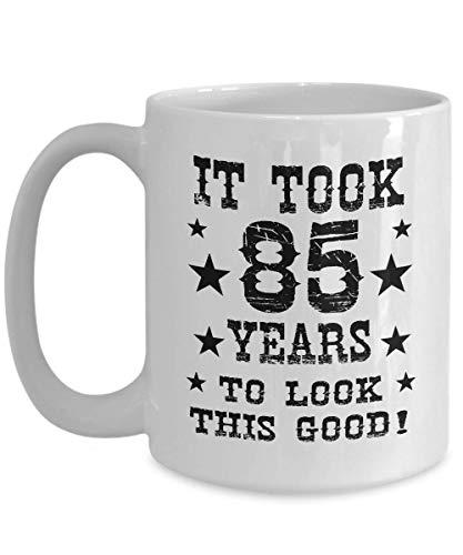 Egoa koffiemok 85. verjaardag goed uiterlijk 85 jaar Cool 85. Verjaardag mode porseleinen mok keramische mok thee houdbaar grappig 330 ml verjaardag nieuw cadeau jubileum speciaal boekje