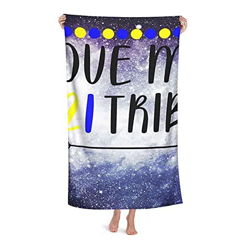 Toalha de praia de microfibra Cobertor Love My T21 Tribe Down Síndrome Arrow Toalhas de banho para adultos, crianças, meninos e meninas