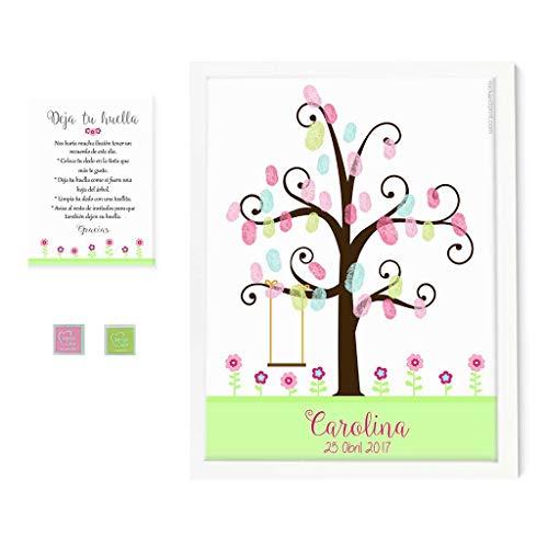 Árbol de huellas flores alegres. Incluye marco y tintas a elegir. Elige el color de la lámina. Cuadro huellas de invitados. Comunión y bautizo.