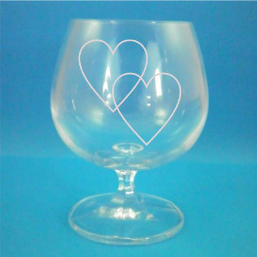 Cristal de Bohemia copa de Brandy con dos impresión del corazón en caja de regalo - perfecto día de San Valentín Regalo!