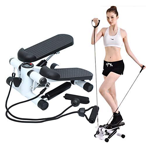Yonntech Fitness Stepper Swing Stepper Mini-Stepper mit Trainingscomputer und großen Trittflächen, Heimtrainer für Bauch Beine Po Training