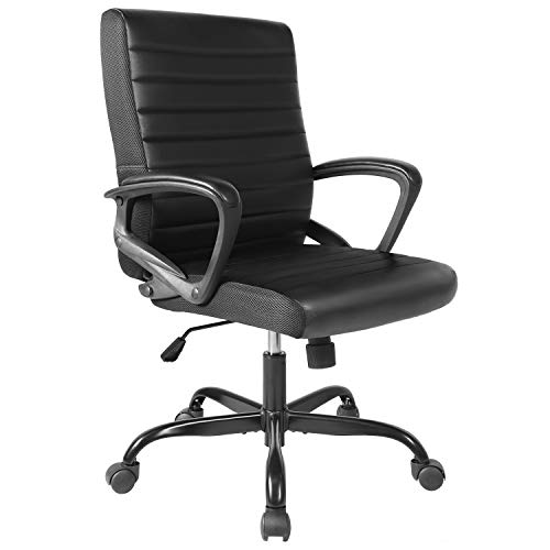 ORVEAY Ergonomic Bonded Leather Executive Computer Task Office Desk Chair Mid-Back with Swiveling Casters for Home Office Conference Room
