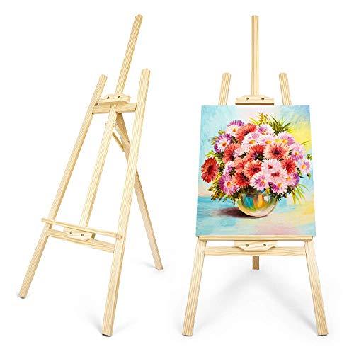 amzdeal Cavalletto Pittura 145 cm Supporto Cavalletto in Legno di Pino per artisti Cavalletto per Dipingere e Disegnare Professionale da Studio