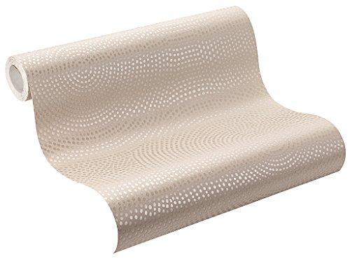 Rasch Tapeten Rasch Vlies-Tapete, Kreise in beige und gold-Metallic mit Glitzer, Home Vision VI, 431322, 0,53m x 10,05m (BxL)