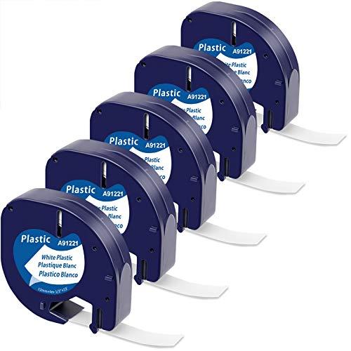 Nastro per Etichette MarkField Compatibile In Sostituzione di Dymo LetraTag Plastica Etichettatrice 91201 S0721610, 12mm x 4m, Nera su Bianco Ricarica per Dymo Letratag LT-100H LT-100T QX 50 XR XM