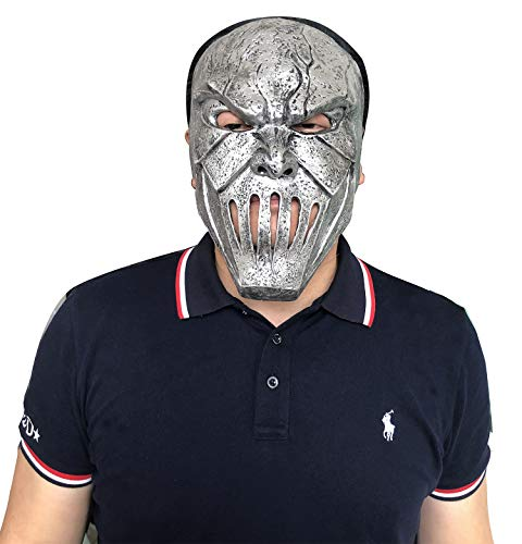 Mick Thomson Face Mask, Halloween Latex Creepy Heavy Metal Silver Decorate Masks, Masquerade and Costume Party Scary Prop