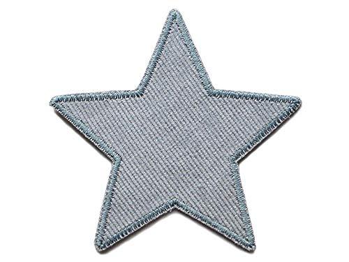 Stern Flicken Cord grau, 10 cm, Hosenflicken Bügelflicken für Cordhosen