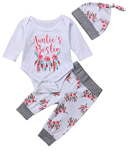 Newborn Baby Girls 3pcs Outfit Set Auntie's Bestie Romper + Floral Pants Clothing Set (0-3 Months, White and Grey)
