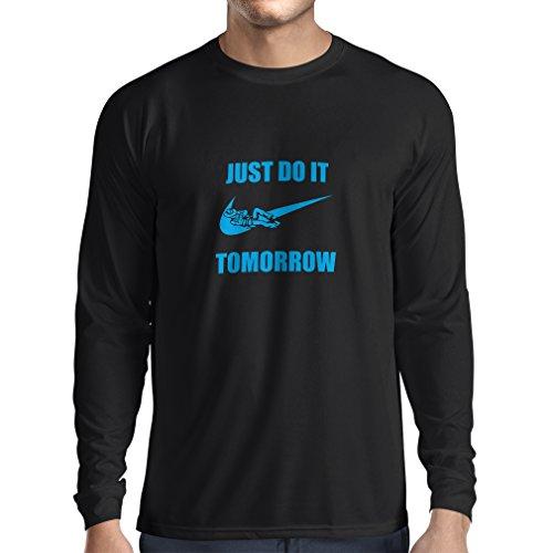 lepni.me T-Shirt Manches Longues Homme Il Suffit de Le Faire Demain, Motivation d'entraînement, Dictons parodiques drôles (XX-Large Noir Bleu)