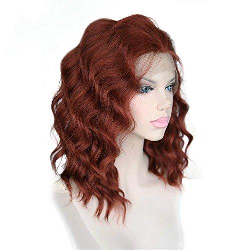 Cbwigs Perruque synthétique avec dentelle bordeaux pour cosplay femme à moitié noué à la main Style coupe de cheveux 25,4 cm #350
