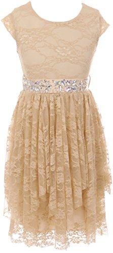 Big Girl Short Sleeve Floral Lace Ruffles Easter Summer Flower Girl Dress Lavender 14 JKS 2095
