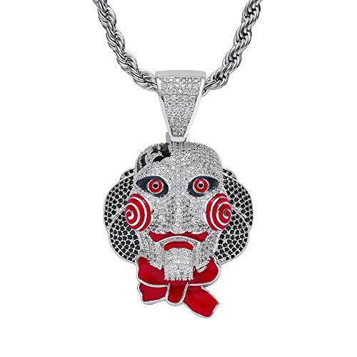 WJLED Colgante de Payaso, Collar de Hip-Hop, decoración Personalizada, Cadena de Acero Inoxidable de 24 Pulgadas, Hombres,Plata