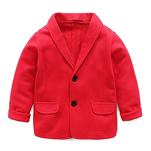 Little Kids Boys Girls Casual Fashion Blazers Jackets Coat Suit Outerwear 3-4 Years Red
