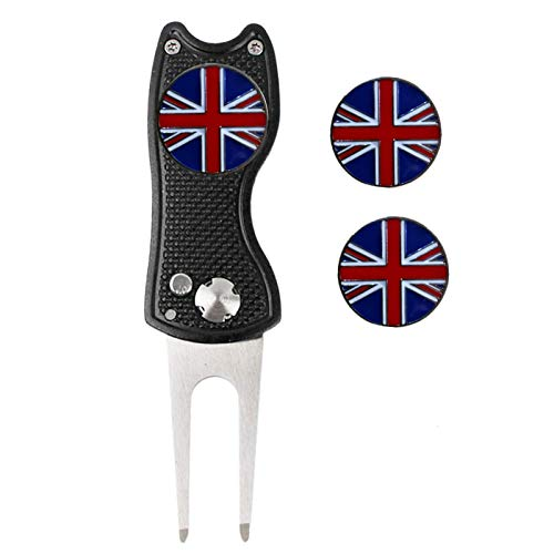 Jeantet Sport Golf Divot Repair Tool With Ball Marker UK Flag Value Pack, Switchblade Durable Pitch Fork Golf Club Pocket Free Extra 3 Ball Makers Color Black Blue Red (Black+UK Flag)
