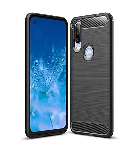 """Kit Danet Capa Capinha Anti Impacto Para Motorola Moto One Action Tela 6.3"""" Case Com Desenho Fibra De Carbono E Película De Vidro Temperado (Preto)"""