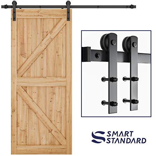 SMARTSTANDARD 6.6ft Heavy Duty Sturdy Sliding Barn Door Hardware Kit -Smoothly and -