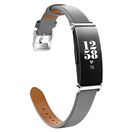 MoKo Armband Passend für Fitbit Inspire/Inspire HR, Klassisches Echt Leder Uhrenarmband Lederarmband Erstatzband Uhr Band Watchband mit Metallschließe - Grau