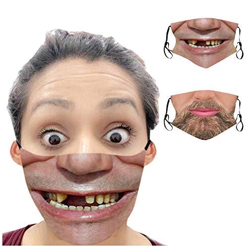 Lulupi 2 Stück Lustig Mundschutz Multifunktionstuch 3D Druck Bandana Maske Waschbar Wiederverwendbar Stoffmaske Alltagsmaske Atmungsaktiv Mund-Nasenschutz Lustige Motiv Halstuch Schals Herren Damen