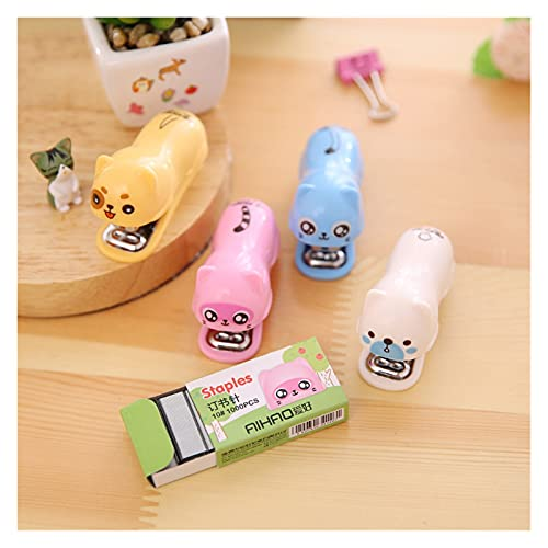 xinlianxin Linda grapadora para perros y gatos, 1000 piezas mini grapas para encuadernar artículos de papelería de oficina o escuela (color azul)