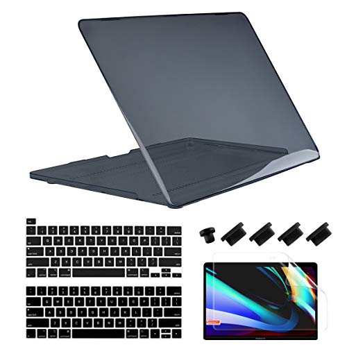 Dongke MacBook Pro 13 inch Case 2020 2019 2018 2017 2016 Release A2289 A2251 A2159 A1989 A1706 A1708, Plastic Hard Shell Cover for MacBook Pro 13 with Touch Bar Retina Display, Crystal Black