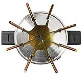 Bestron Fondue Set für bis zu 8 Personen, Stufenloser Temperaturschalter, Spritzschutz, Kupfer - 5
