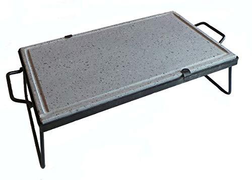 Inferramenta Bistecchiera in Pietra Naturale ollare lavica con Manici e Piedi di Sostegno per Barbecue griglia Cottura dietetica Made in Italy (40x60x2 cm)