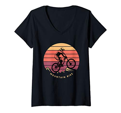 Womens Mountain Bik Downhill MTB Mountain Bike Gifts For Lover V-Neck T-Shirt