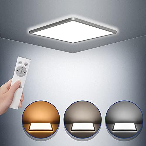 LED Deckenleuchte Dimmbar STANBOW 18W Deckenleuchte Flach 2700K-6500K, 1600LM, IP44 Led Deckenlampe Wohnzimmer/ Schlafzimmer/Badezimmer/Balkon/Küche/Flur/Keller/, Led Lampen Decke 295 x 295 x 25 mm