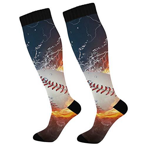 PUXUQU Socken Strümpfe Galaxis Baseball Sport Ball Herren Damen Kniestrümpfe Socken 2 Pack