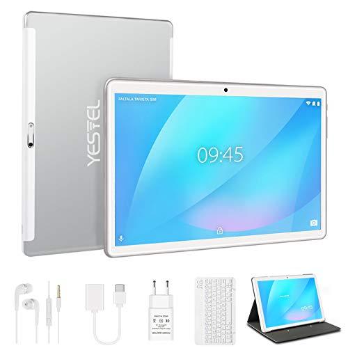 Tablet 10 Pulgadas, Android 10 YESTEL Tablets, 4 GB de RAM, 64 GB Ampliables hasta 128 GB, Procesador Quad-Core, Pantalla HD IPS, Dual SIM LTE/WiFi, 8000mAh Batería, con Teclado, Color Plata