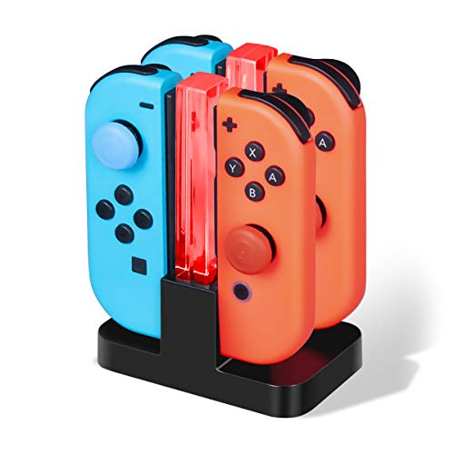 CHEREEKI Ladestation für Nintendo Switch Joy-Con Ladegerät Typ-C Kabel, mit LED-Anzeige Intelligenter Schaltung Joy-Con Lade Dock