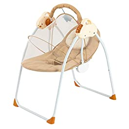 Baby Swing Baby Rocking Chair 3-speed Adjustment Baby Swings for Infants with Soothing Swing Removable Mattress and Music Seat Belt Portable cradle Bouncer for Babies from the Newborn Beginning(khaki)