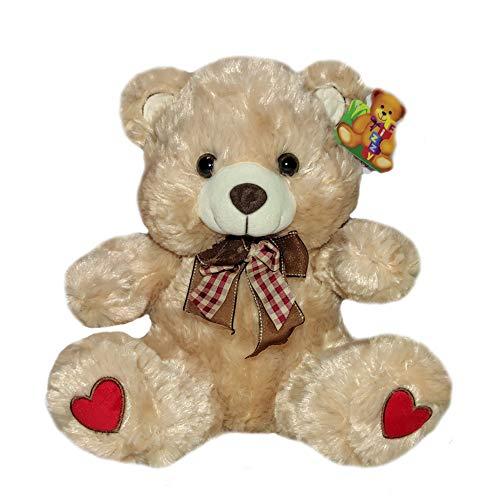 Urso de Pelucia Medio Com Lacinho Xadrez 33cm Coração Cappuccino