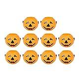 LUOEM 10pcs Halloween Pumpkin Candy Bucket Portable Pumpkin Bucket Children Trick or Treat Bags for Party Favors 3.4 x 2.6 x 2.2 Inch (Orange)
