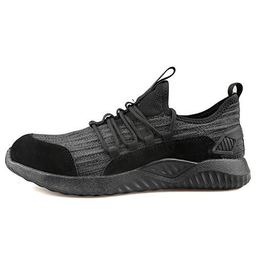 Ucayali Botas de Seguridad Zapatos de Seguridad Hombres Cómodo Zapatos de Trabajo Zapatillas con Punta de Acero Ultra Liviano Negro Talla 46