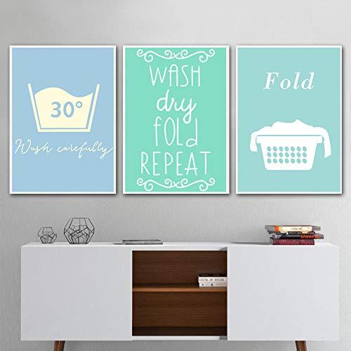 Doblar la pinza de ropa Citas de planchado Arte de la pared Pintura en lienzo Carteles e impresiones nórdicos Cuadros de la pared para la sala de lavandería Decoración del baño Sin marco